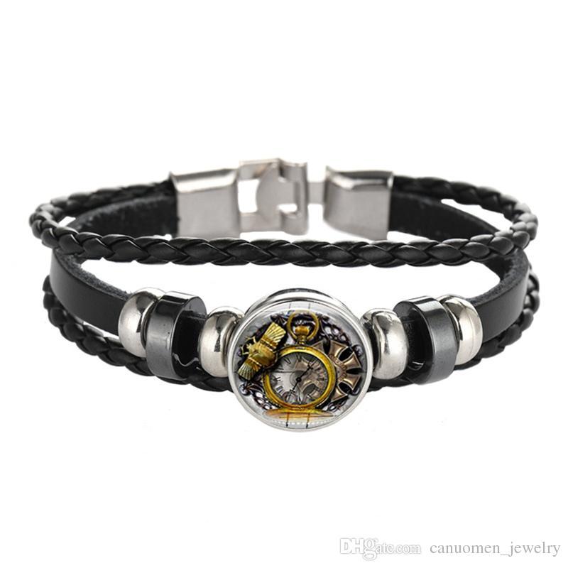 Leather Bracelet Vintage Clock Wheel Gears Punk Black DIY Handmade Jewelry Glass Cabochon Women and Men Charm Gift Wholesale