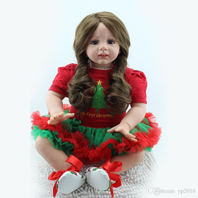 24 '' Muñeca Reborn hecha a mano realista con cabello largo Navidad bolitas del niño mejor regalo