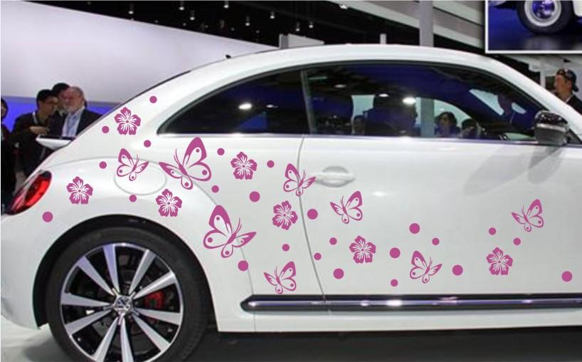 Butterfly Flower Graphic Vinyl Art Wall Stickers Car Body Sticker Waist Line Home Party Decals