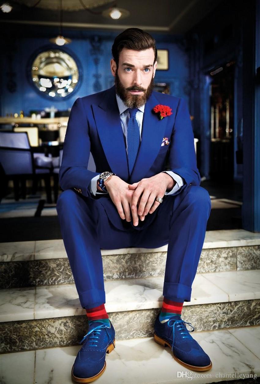 Royal Blue Men Suit For Wedding Slim Fit Groom Tuxedo 2016 New ...