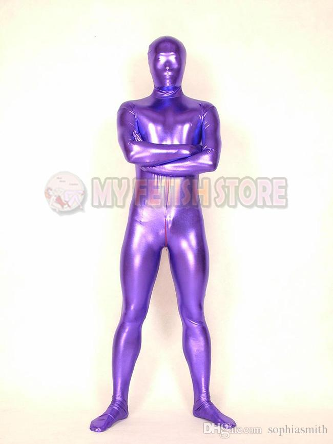 SHM03Full Body Shiny Metallic Shiny Tights Unisex Original Bodysuit Fetish Zentai Suits Halloween Party Costume