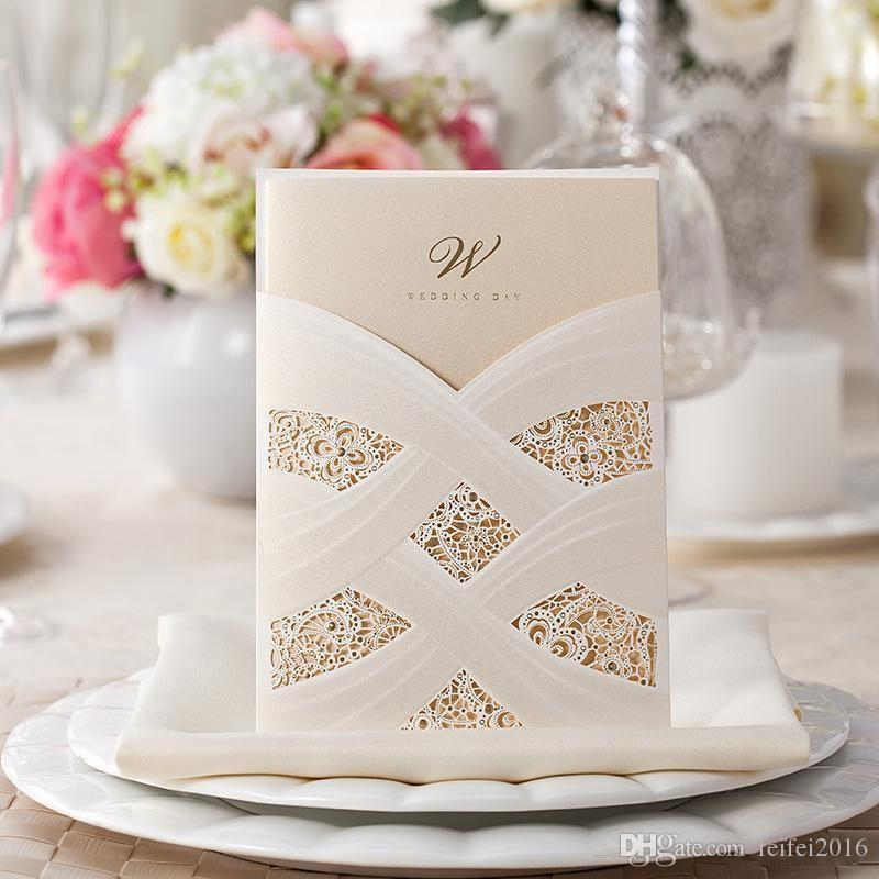 New Red Ivory Hollow Lace Wedding Party Invitations Laser Cut ...