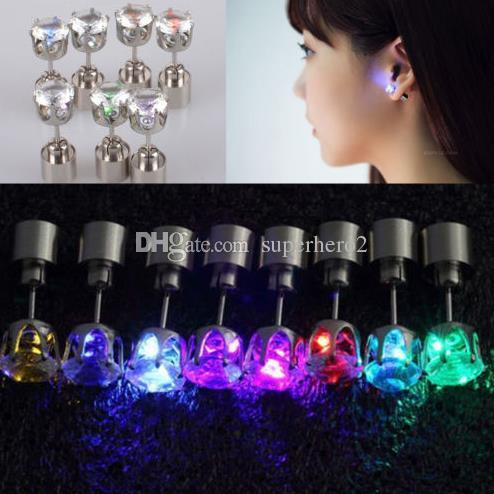 Fashion Christmas party light up CZ crystal earrings men women kids dance club LED Luminous Stud Flash Earrings festive event props gift