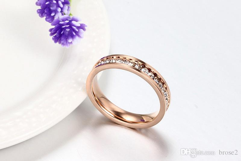 18K rose gold plated single row full diamond wedding ring female index finger ring golden color fashion jewelry with one hundred