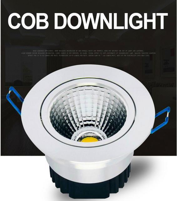 Yeni Gümüş Dim Led Downlight 9 W 12 W 15 W COB Led Aşağı Işık Gömme Tavan Işık 120 Açı AC 110-240 V + CE ROHS UL