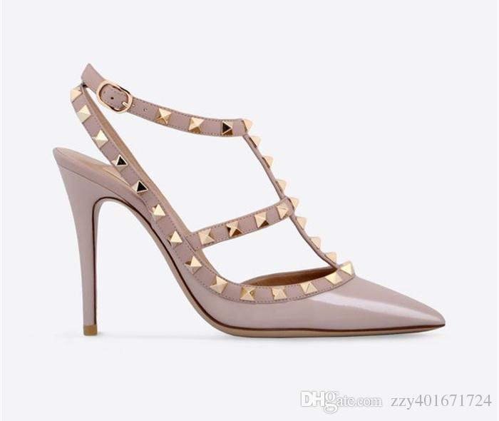 Designer Spitzschuh 2-Strap mit Nieten High Heels Lackleder Nieten Sandalen Damen Nieten Strappy Dress Schuhe valentine high heel Schuhe