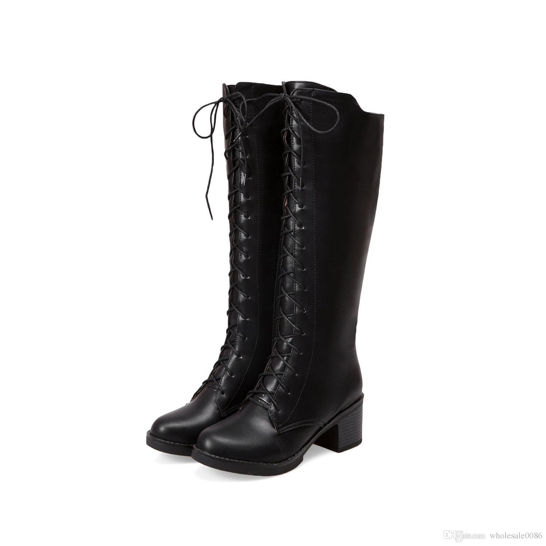 877209f4a84 Acheter New Hot Fashion Femmes En Cuir Synthétique Chaussures Platform  Haute Talon Zip Lace Up Genou Bottes WB529 De  36.18 Du Wholesale0086