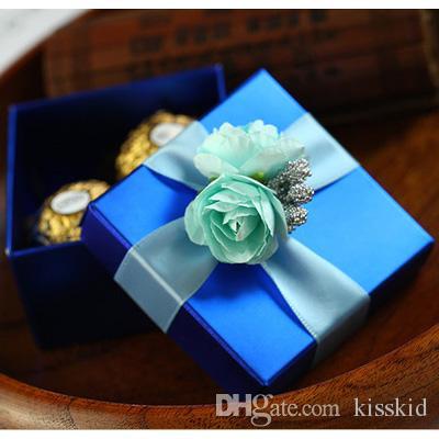 الأزرق مربع الحلوى مع روز الأزرق والشريط هدية عرس حزب صالح صناديق 2 نمط جديد