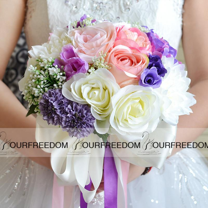 Wf050pp Pink Purple Beach Wedding Bouquet 2016 Boho Silk Flowers Bridal Bridesmaid Decorations For Special Day Summer Same Delivery