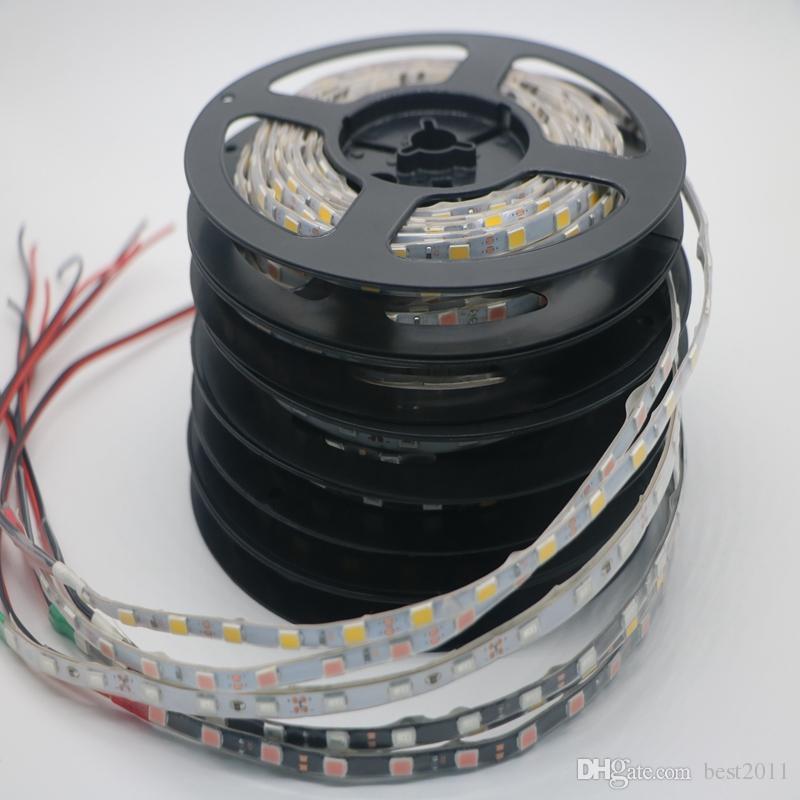 ePacket Envío gratis 5730 SMD 60LEDs / m lado estrecho 5mm PCB impermeable IP65 Flexible Tira de luz LED