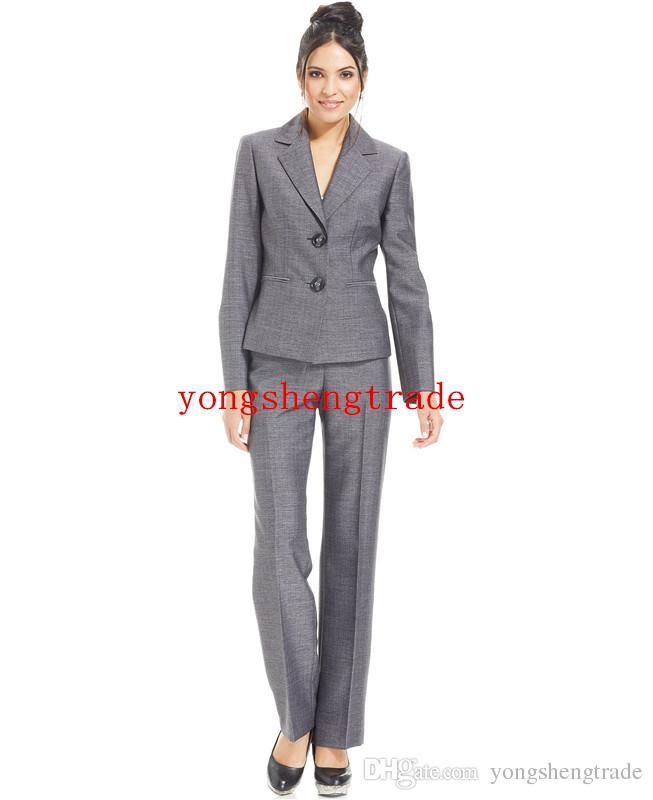 Custom Made Woman Suit Grey Women Suit Plus Suit Grey Blazer & Plus Pencil Skirt Notched Lapels Welt Pockets HS7941
