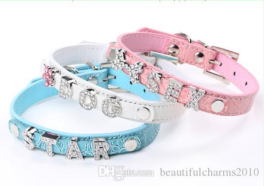 20 Teile / los 5 Farben Pu-leder Krokodilleder Haustier Katze Hundehalsband Mit Gleitschiene Fit für 10mm diy diabuchstaben diacharme