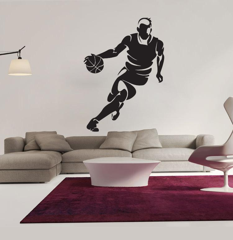: Middle Sized 3D DIY Photo DribblingBasketball Player PVC Decals/Adhesive Family Wall Stickers Sport Mural Art Home Decor