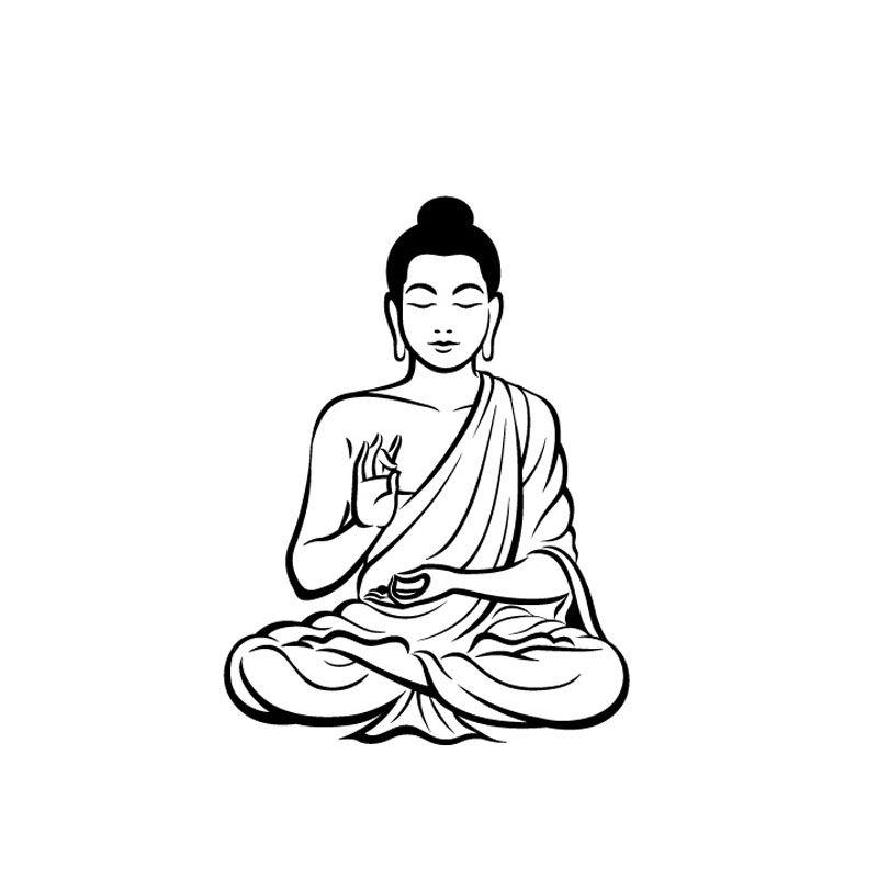 Home Decor Wall Sticker Meditating Buddha Decal Diy