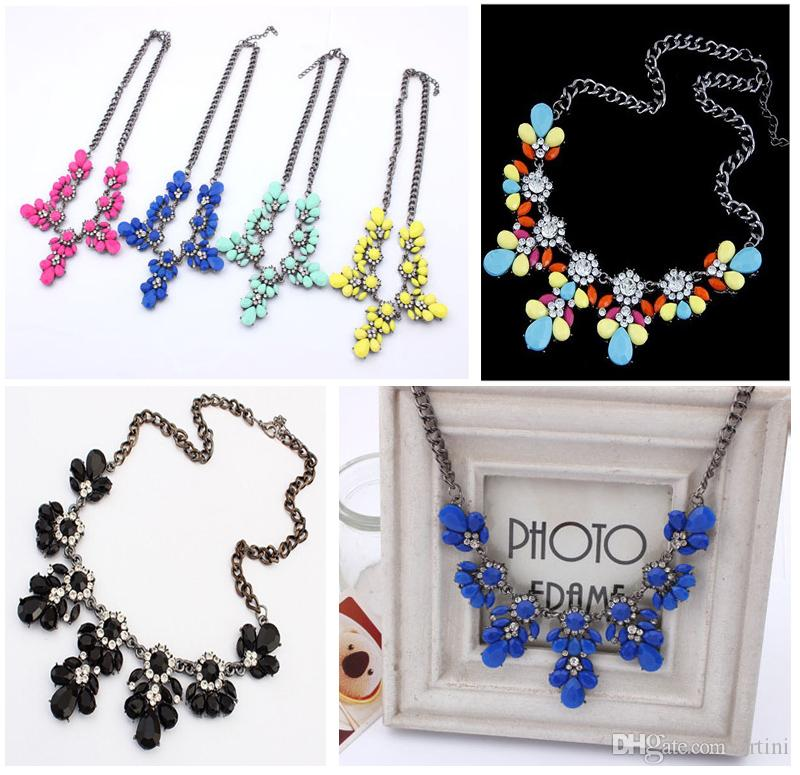 201607 Nature Stone Necklace Retro Short Paragraph Summer Bling Rhinestone  Beauty Necklace Colorful Evening Party Gift E777L