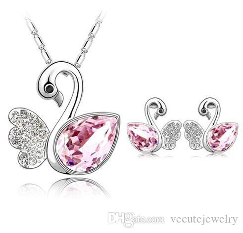 18K White Gold Plated Ausrtrian Crystal Swan Necklace Earrings Jewelry Set for Women High Quality Health Wedding Jewelry Set Wholesale Price