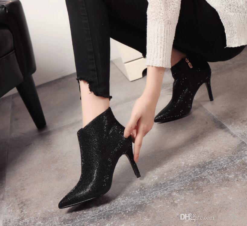 Rhinestone Wedding Shoes For Women Luxury High Heels Top Quality Ankle Length Bridal Shoe 2018 Winter Wear