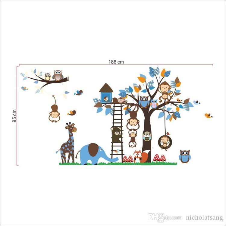 Grande Árvore de Animais Adesivos de Parede para Crianças Decoração Do Quarto Macaco Coruja Urso Raposa Jardim Zoológico Adesivos Dos Desenhos Animados DIY Crianças Casa Do Bebê Decalque Mural Art