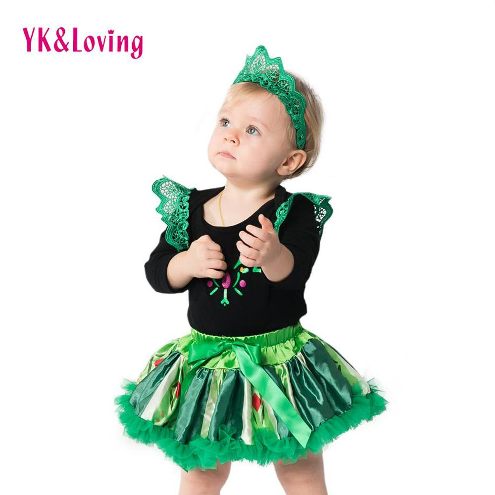 cc29a7201 2019 Infant Girls Clothing Long Sleeve Cotton Green Dress 0 2 Years Baby  Tutu Dress Gift 2017 Newest Arrival Jumpsuit For Birthday Party Clothes  From ...