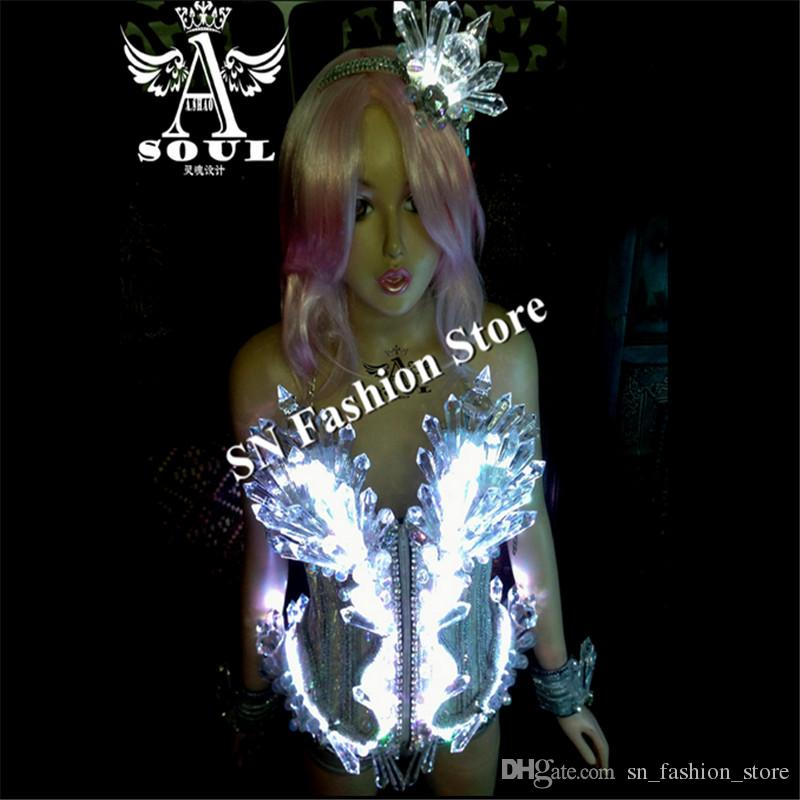b8dfea02c90ae FS001 Cosplay Colorful LED lighted Ballroom dance costumes dress bra singer  catwalk wears show bar disco party stage sexy cloth