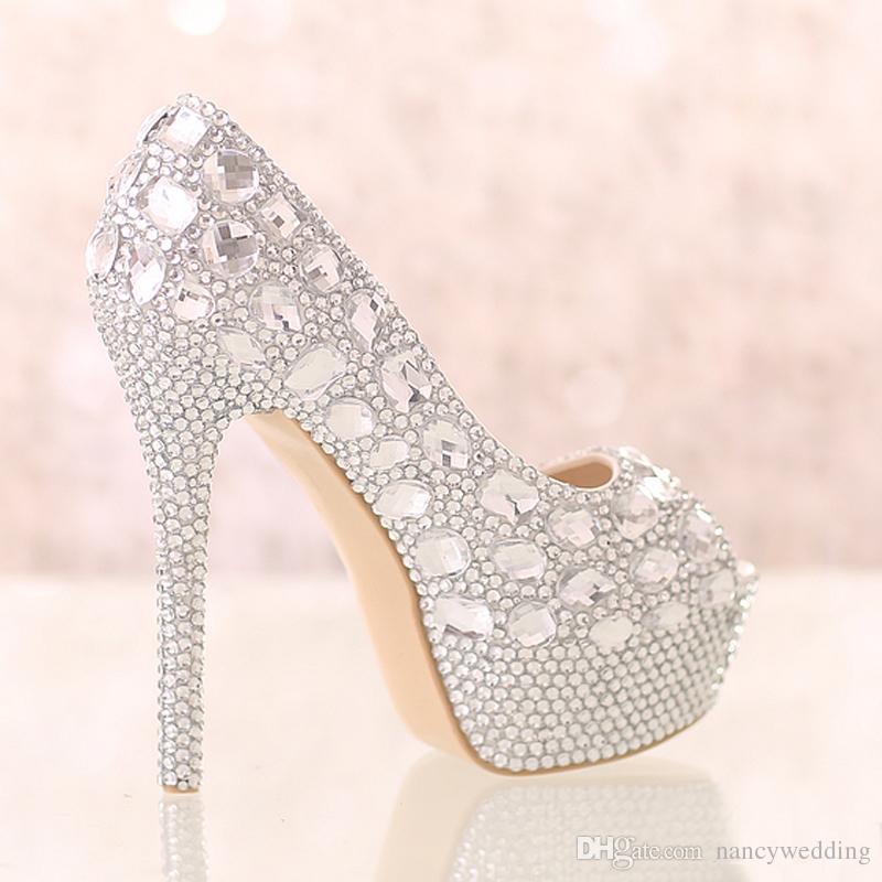 Zapatos de boda de diamante de plata hechos a mano Peep Toe Platforms Rhinestone Prom Party Shoes Super High Heel Stilettos Zapatos nupciales