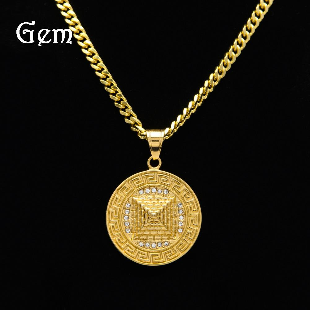 Wholesale gold plated street jewelry for men round military license wholesale gold plated street jewelry for men round military license full diamond pyramid pendant necklaces 5mm cuban chain pop hip hop accessories silver aloadofball Images