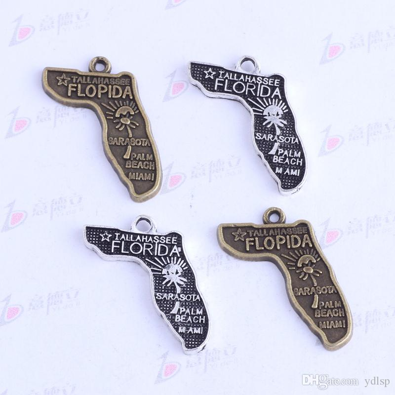 / antique argent / bronze FLORIDA IALLAHASSEE pendentifs irréguliers Charms BRICOLAGE bijoux irréguliers fit colliers 3412