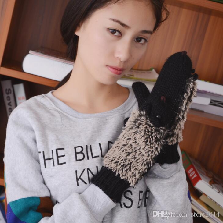 8 Farben Mädchen Neuheit Cartoon Winter Handschuhe für Frauen stricken warme Fitness Handschuhe Hedgehog erhitzt Villus Handgelenk Handschuhe