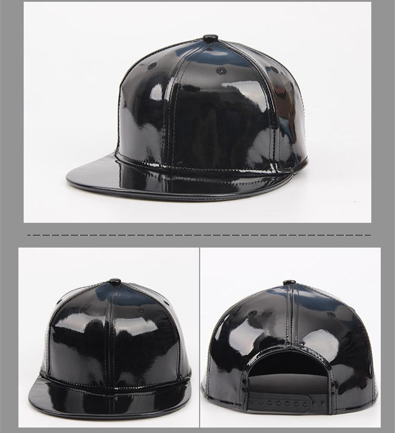 2019 Brand High Quality Patent Leather Peak Cap Baseball ...