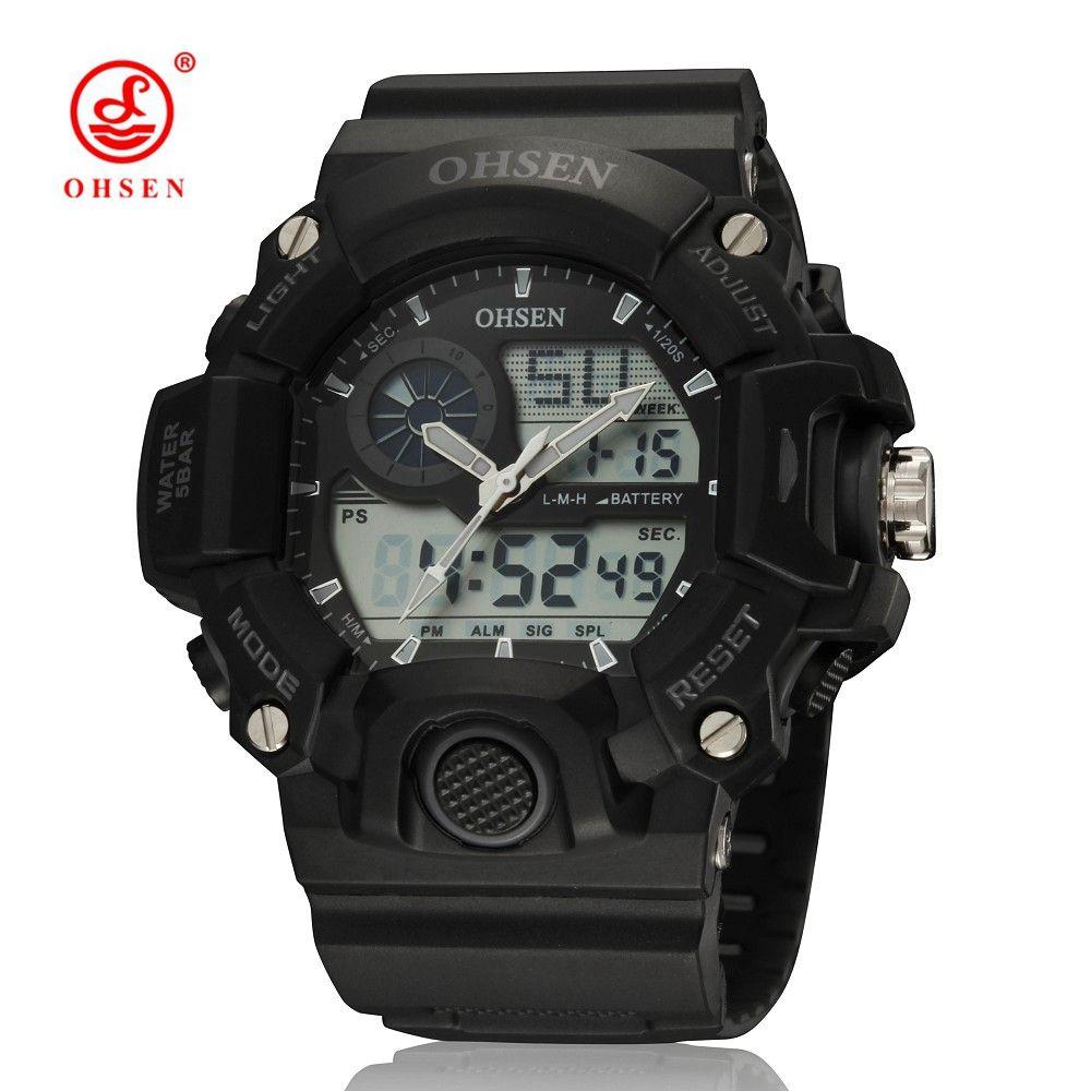 df89a234624 New OHSEN Digital Quartz Sport Watch Wristwatch Mens Boys Rubber Band  Fashion Black Waterproof Outdoor Hand Watch Montre Homme Gift Designer  Wristwatches ...