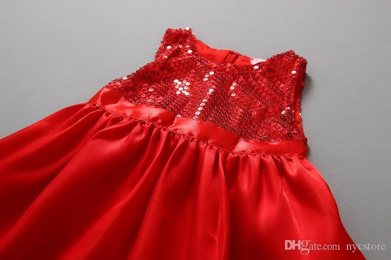 bebés niñas vestidos de Navidad niños niños bling princesa vestidos rojos lentejuelas ropa Fiesta de año nuevo de Nueva llegada