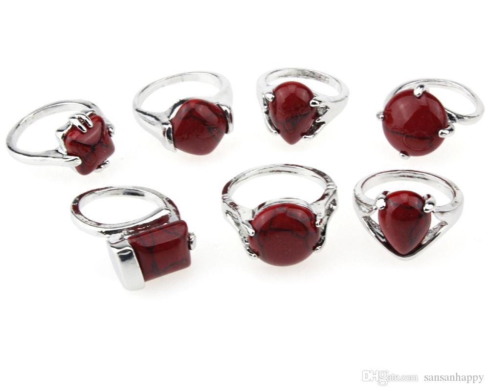 Оптовая ювелирные изделия мода красный природный бирюзовый камень серебряные кольца 100 шт. включая дисплей box