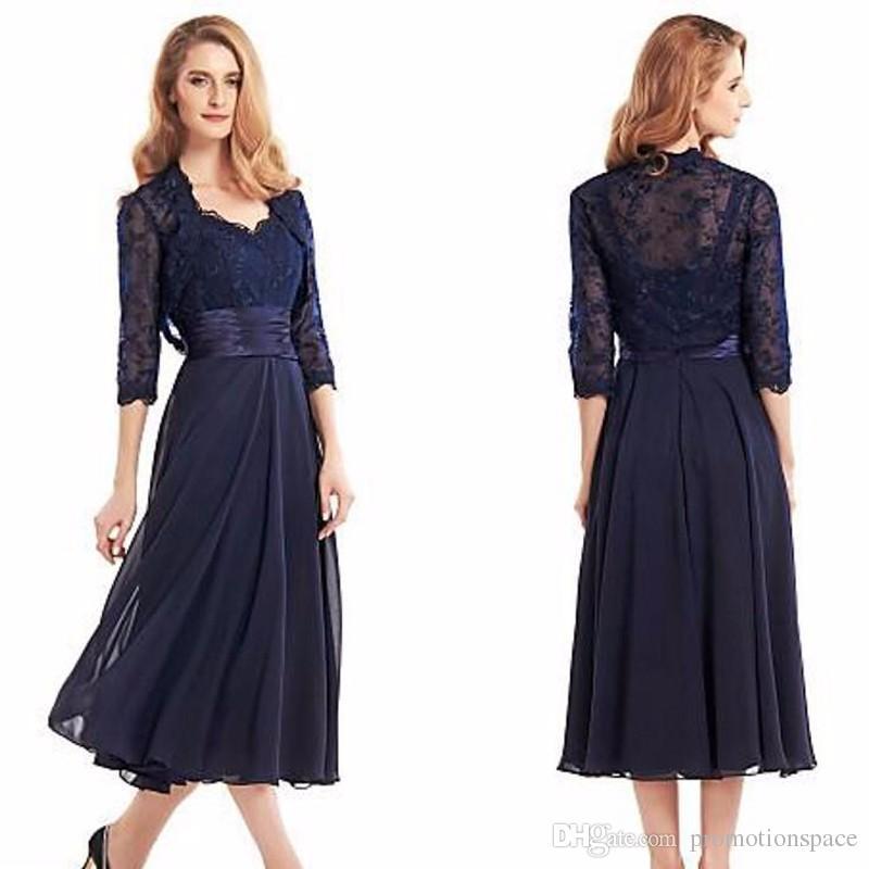 Navy Blue Tee Länge Mutter der Braut Kleider mit Jacke 2016 Hülse mit drei Vierteln Chiffon Mutter Formale Abendkleid lang