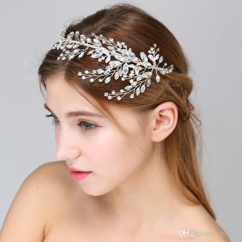 Crystal Wedding Headband Crown Handmade Rhinestone And Crystal Side Tiara  Bridal Headpiece Women Headwear Wedding Hair Accessories Bridal Hair Comb  Pearl ... eb3e2e2fda2