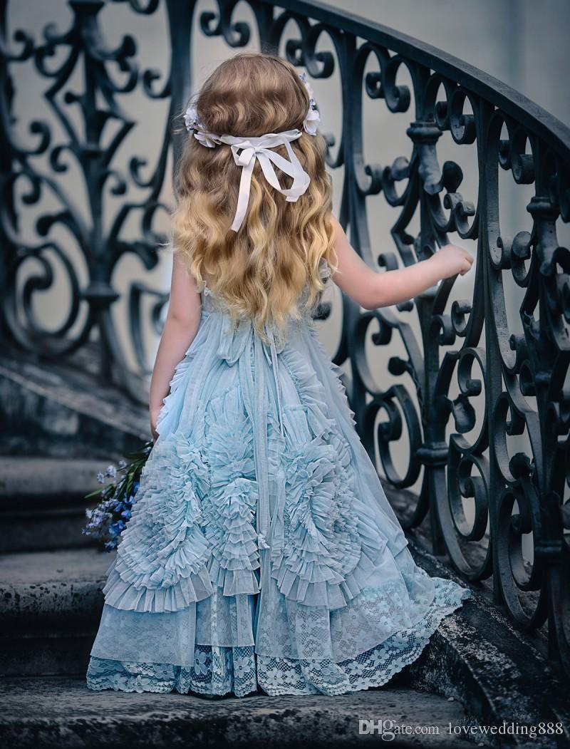 Children Clothes 2017 Light Sky Blue Flower Girls Dresses Ruffles Cut Out Floor Length Lace Organza Kids Toddler Formal Birthday Wear