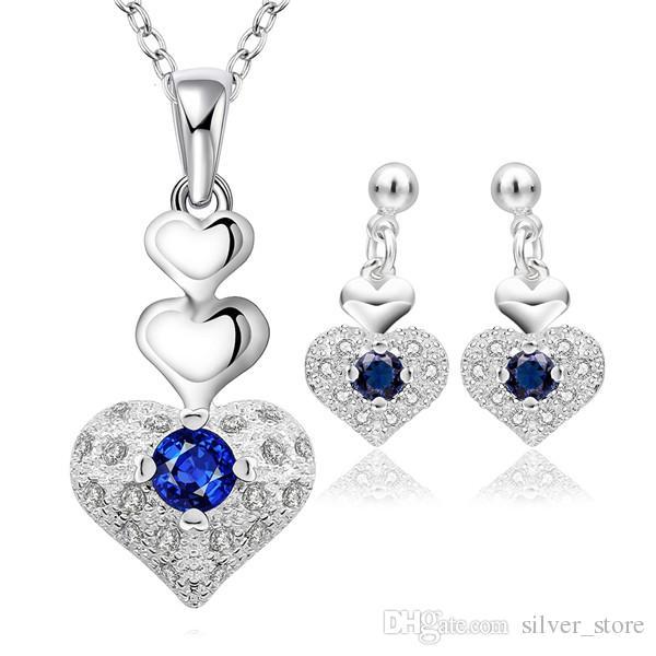 Brand new alta qualidade 925 prata Zircon Coração Set - jóias azul define DFMSS772 Venda direta da fábrica frete grátis casamento