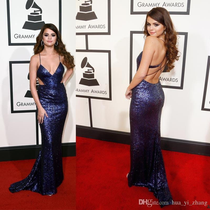 2016 Selena Gomez Grammys Red Carpet Celebrity Dresses Deep V Neck Cross  Criss Sexy Back Sparkles Cutaway Evening Gowns Best Dresses Celebrity  Fashion From ... b0d30036fa48
