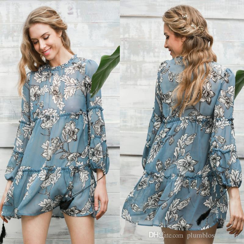 667634b4f6c Vintage Boho Print Tassel Summer Dress Chiffon Ruffle Long Sleeve Short  Dress Vestidos Loose Casual Sexy Beach Bohemian Holiday Dress Robe Womens  Long ...
