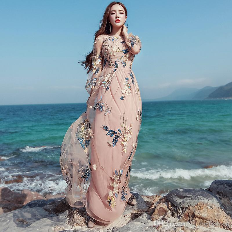a4b22aa633b53 Vintage Mexican Dress Women Spring Summer Embroidered Mesh Long Dress Boho  People 2017 High Quality Designer Runway Dress Y1167