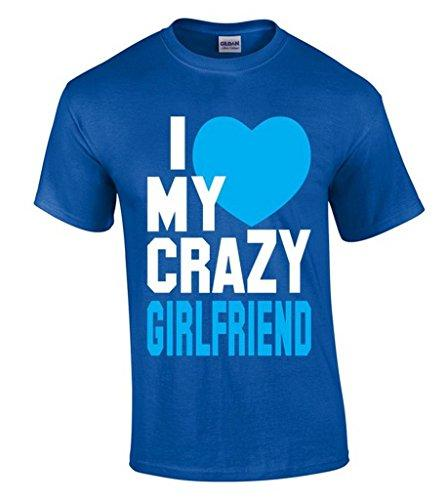 Cotton Jersey Mens Tees I Love My Crazy Girlfriend T Shirt Funny