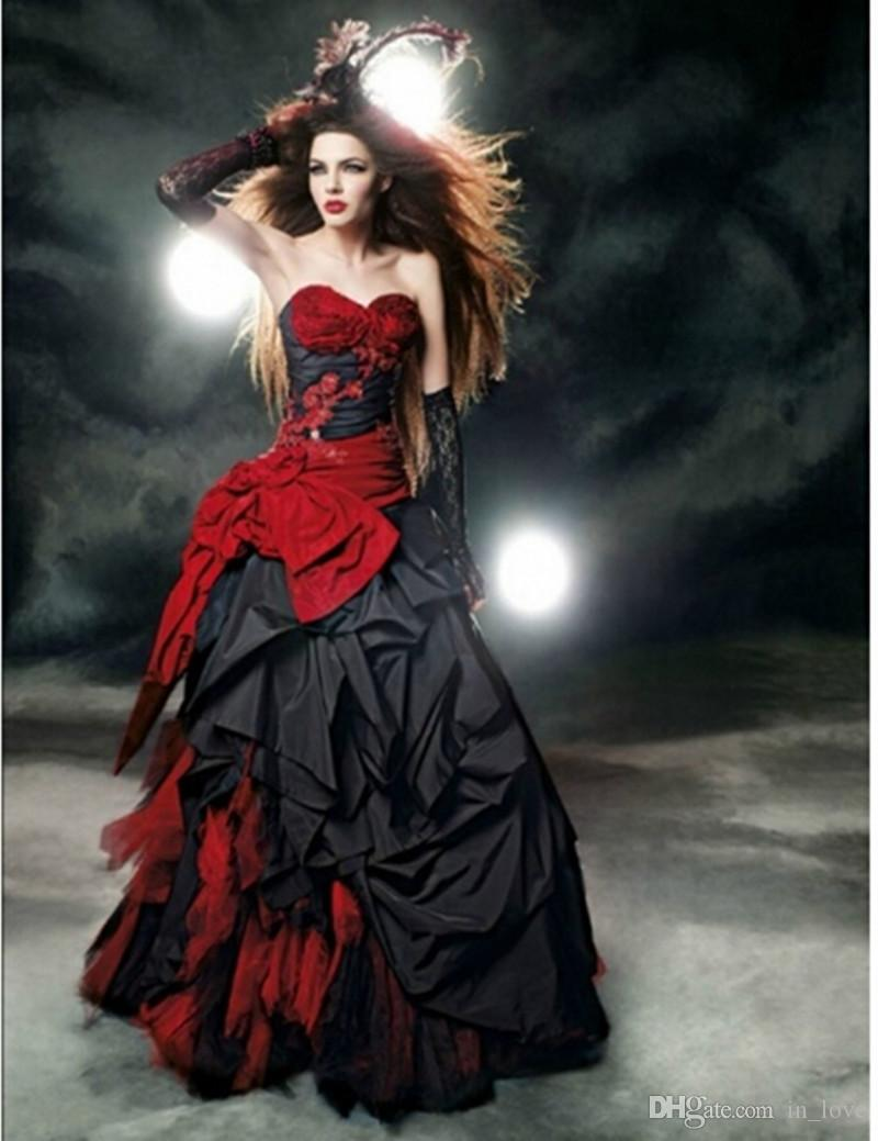 Vestidos de casamento gótico vermelho e preto 2019 querida arco de renda drapeado tafetá Vintage vestidos de noiva vestido de noiva personalizado W102 venda quente
