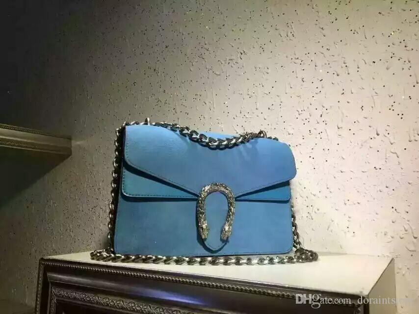 2016 donne Mat nuovo modo superficiale stile di OL borsetta blu Borsa a tracolla Retro vera pelle lucida