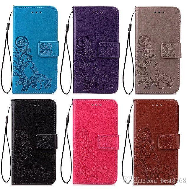 Lucky Clover-Mappen-Leder-Schlag-Abdeckungs-Fall für Xiaomi Max3 8 8SE MI8 6X Redmi 6 Pro 6A S2 Hinweis 5A Pro 5-Karten-Slot-Blumen-Blumen Pouch Strap