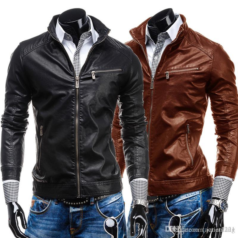 Autumn Mens Cool Leather Jacket Stand Collar Cardigan ...