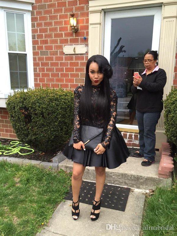 セクシーな背中の黒い女の子のカクテルパーティーのパーティードレスシアー長袖ラインドレープレースミニ8番目の卒業ホームアイシングガウン2016