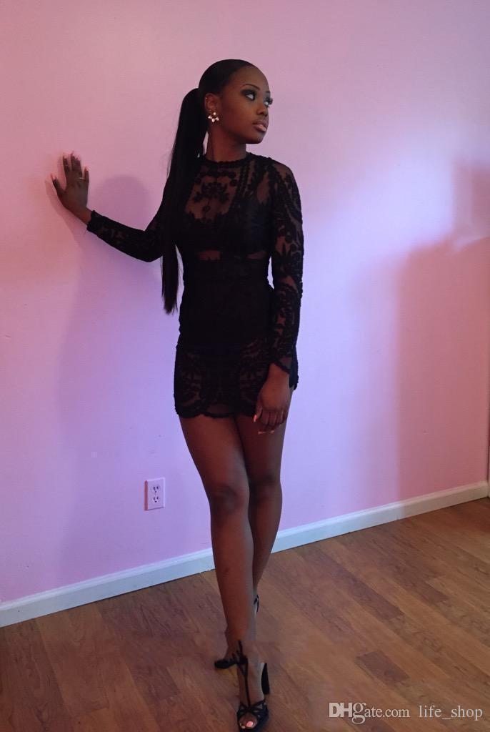 Noir Sexy Prom 2K15 robes avec sur jupes manches longues deux pièces robes de bal en dentelle sur mesure
