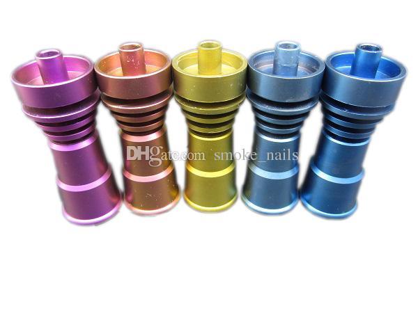 DHL frei Die neuesten bunten Galvanik Domeless GR2 Titanium Nails Fit 14 / 18mm weiblich oder männlich für Ölplattformen Glas Wasserbongs