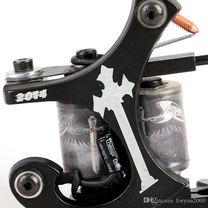¡CALIENTE! Nuevo estilo Handmede Tattoo Machine Shader Gun 10 Bobinas Wrap Tattoo Machine Supply Tool TM8335
