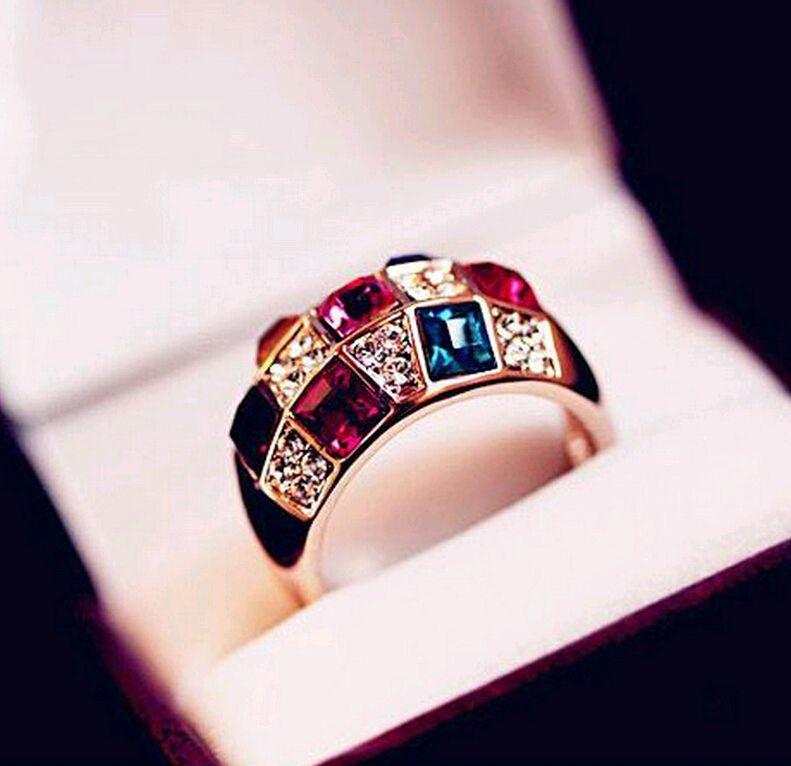 Jóias de luxo Austríaco Cristal Gemstal Anéis Colorido Color Color Colorido Anel de ajuste para homens mulheres baixas preços