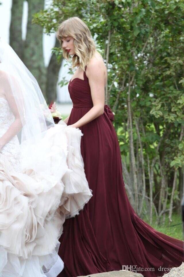 Taylor Swift Plum Bridesmaid Dresses Under 50 Halter Backless Wedding Guest Dress Sweep Train Pleated Holiday Gowns